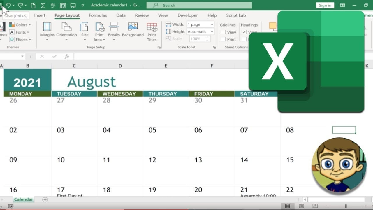 Calendar On Excel 2021   Month Calendar Printable