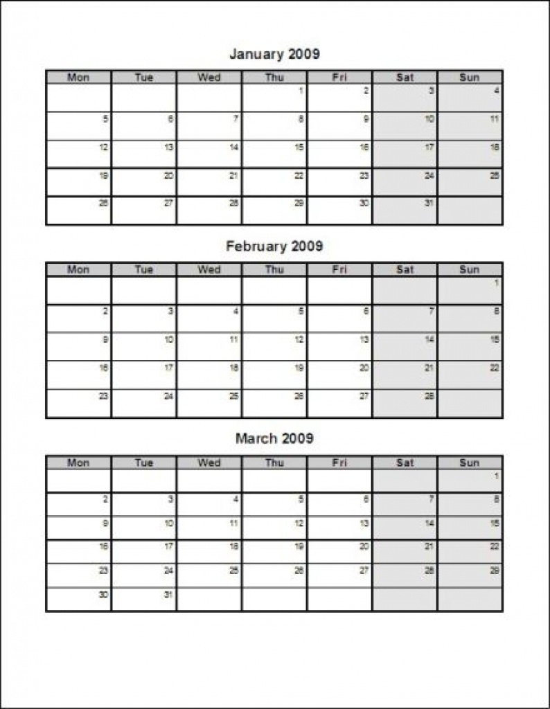 Calendar Template 3 Months Per Page Time And Date
