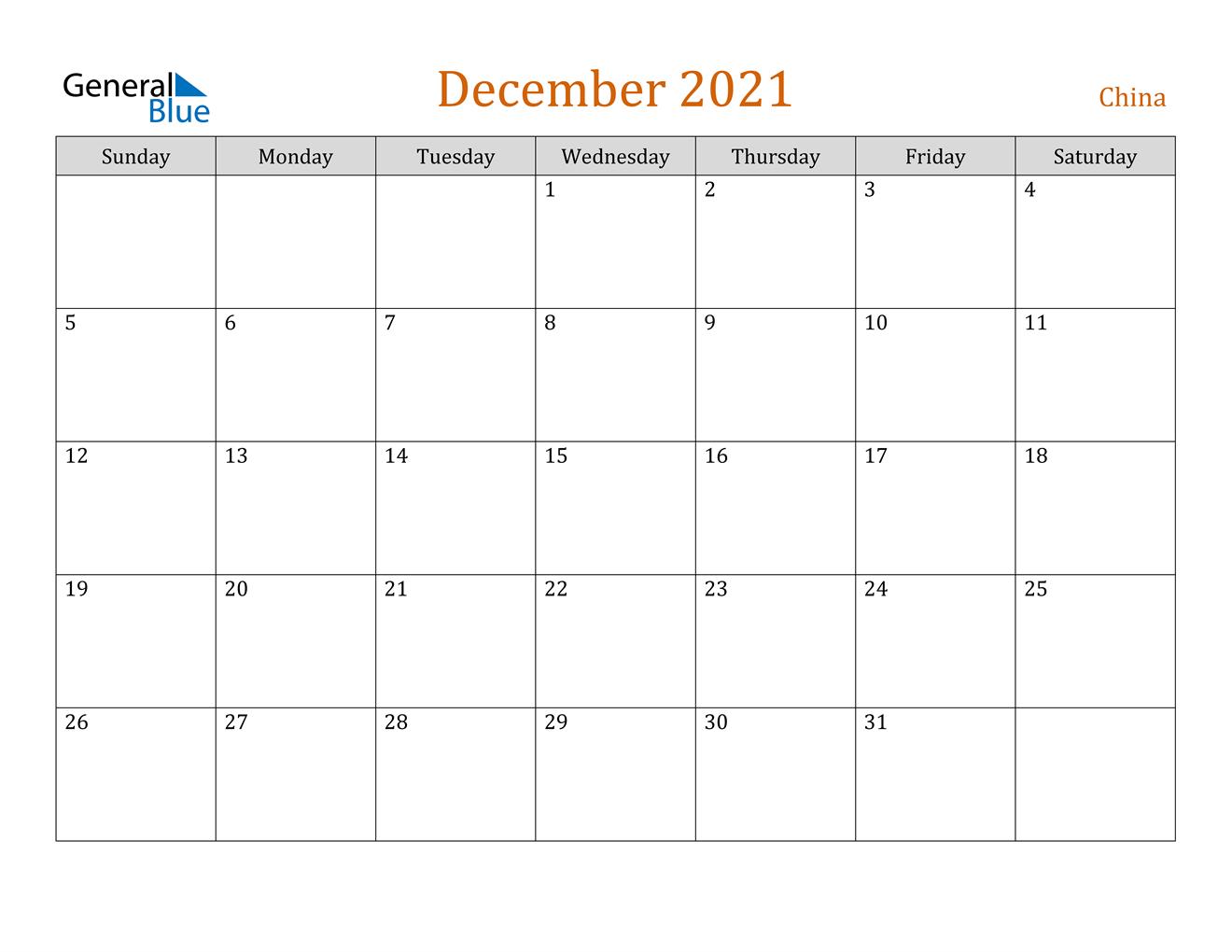 China December 2021 Calendar With Holidays