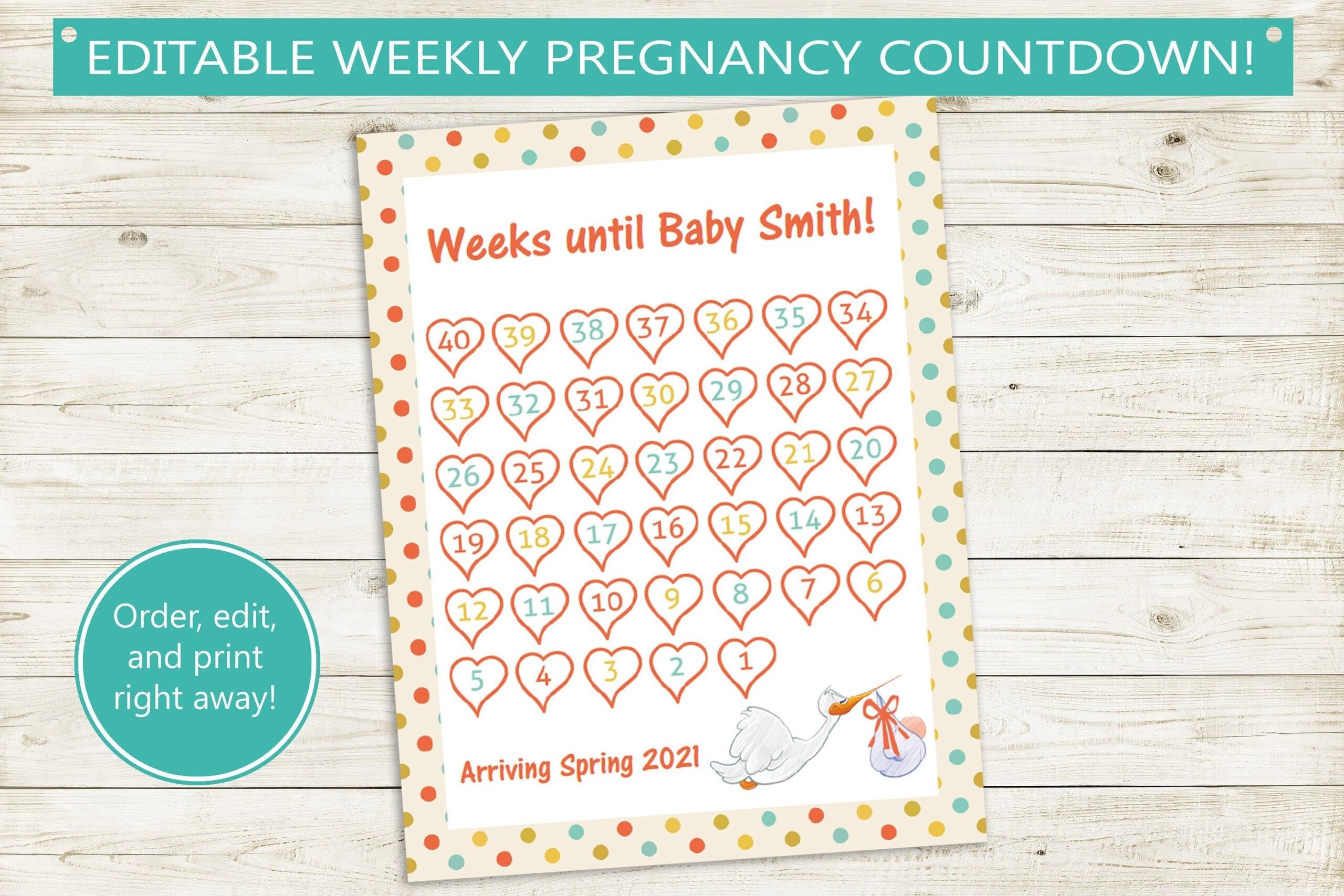 Countdown Calendar For Pregnancy | Free Calendar Template