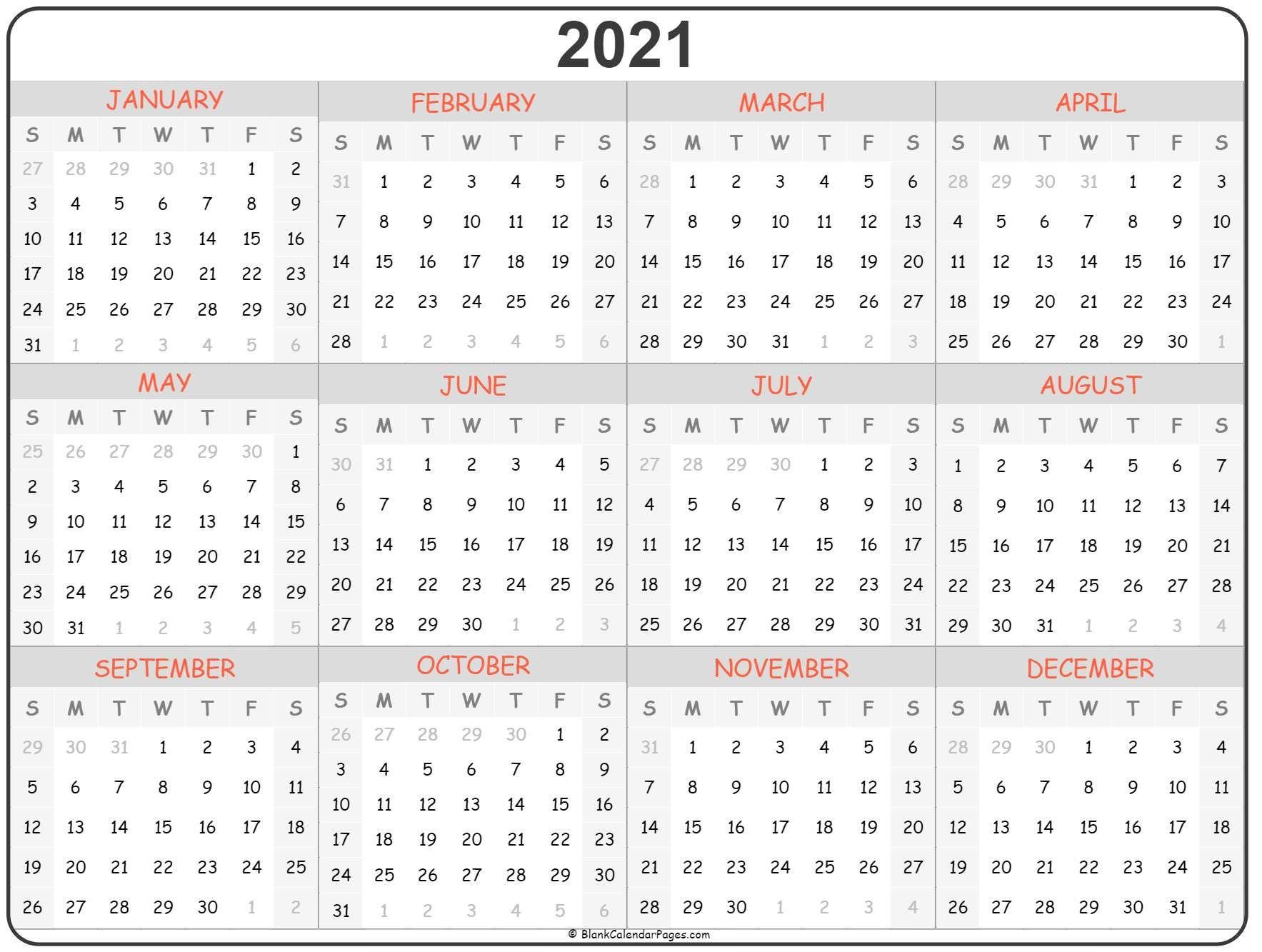 Cute 2021 Printable Blank Calendars : Cute 2021 Printable