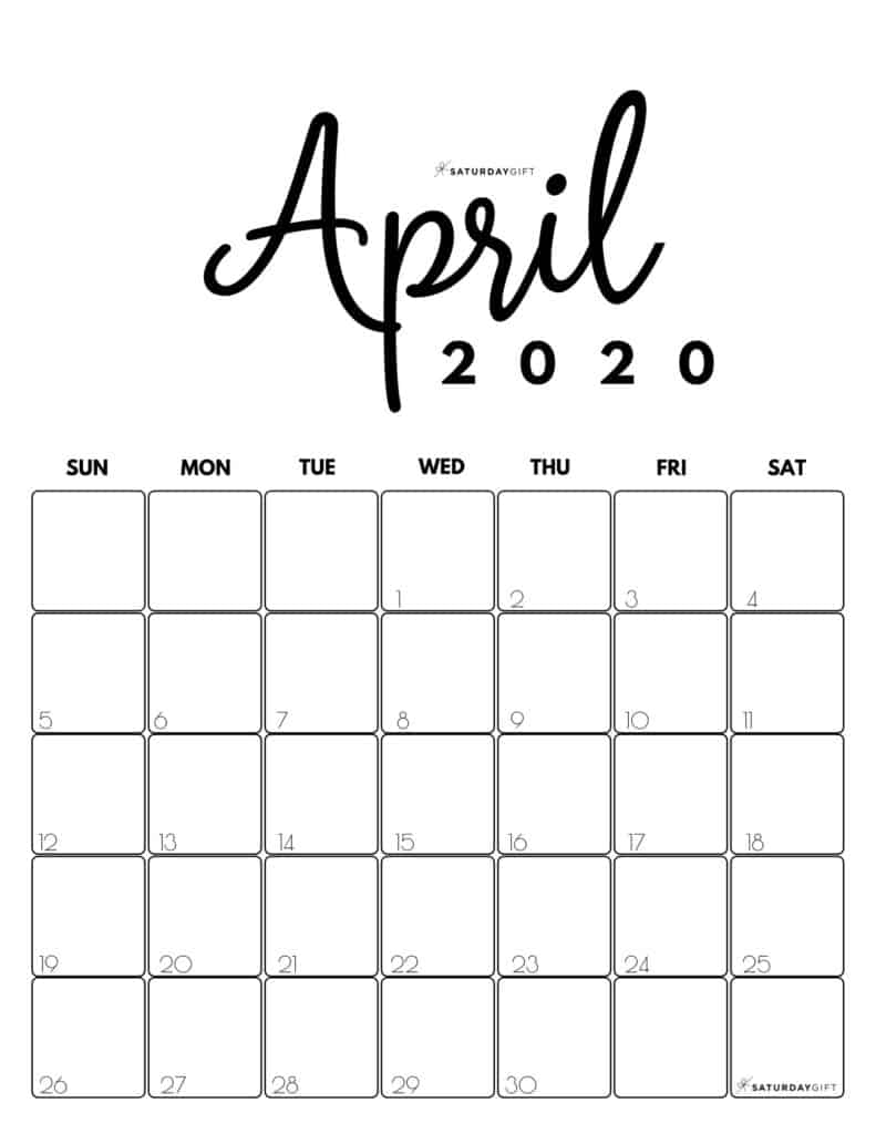 Cute (& Free!) Printable April 2020 Calendar | Saturdaygift