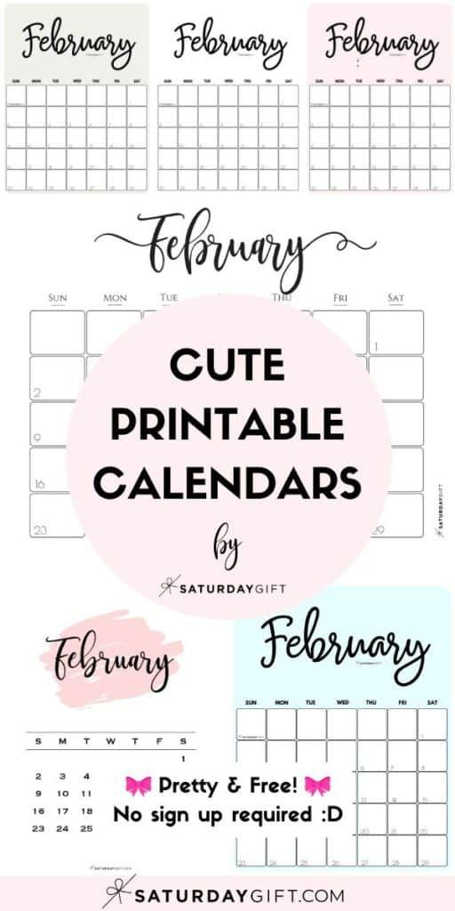 Cute (& Free!) Printable February 2021 Calendar