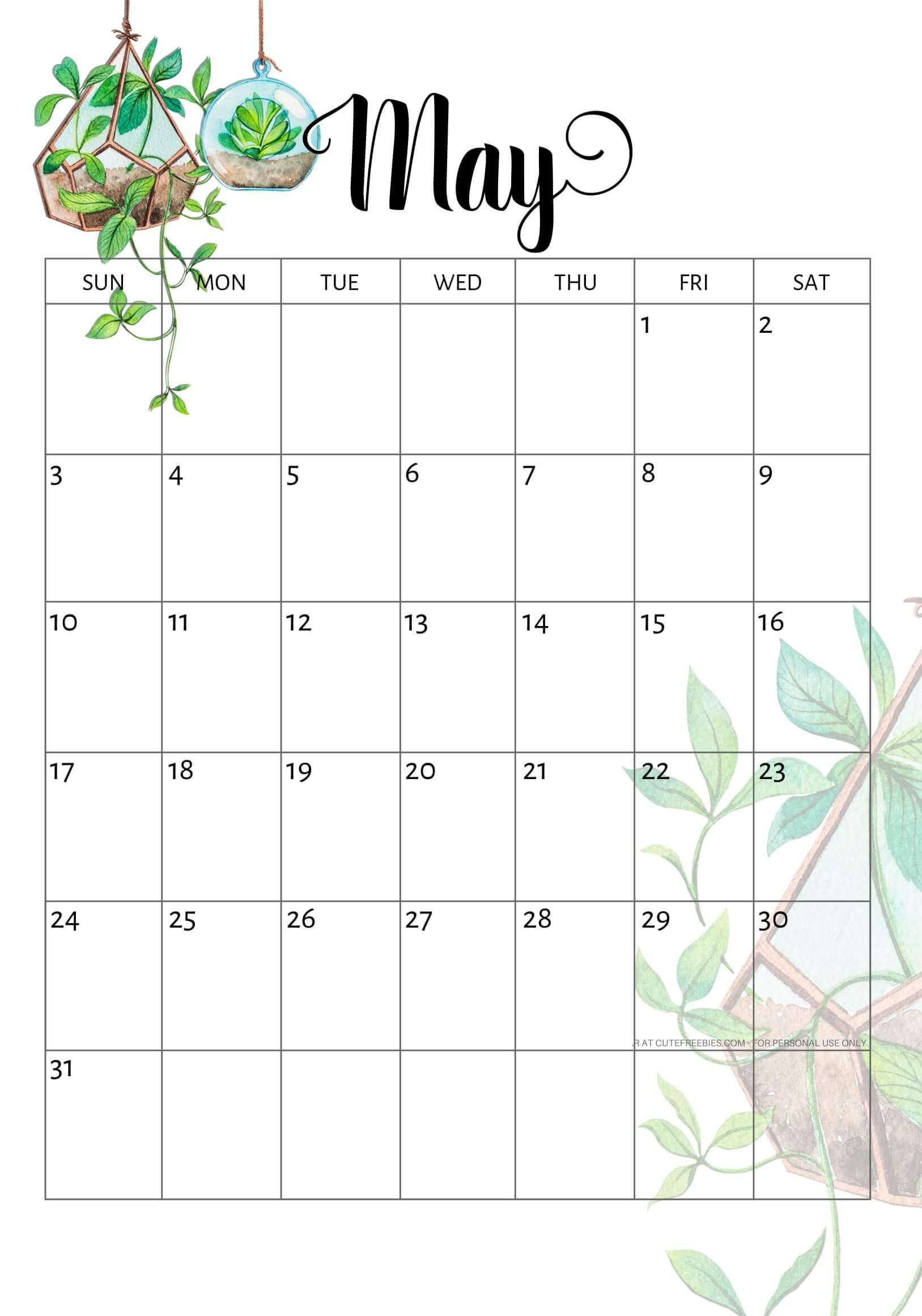 Cute May 2020 Calendar Pink Designs Floral Wall Calendar