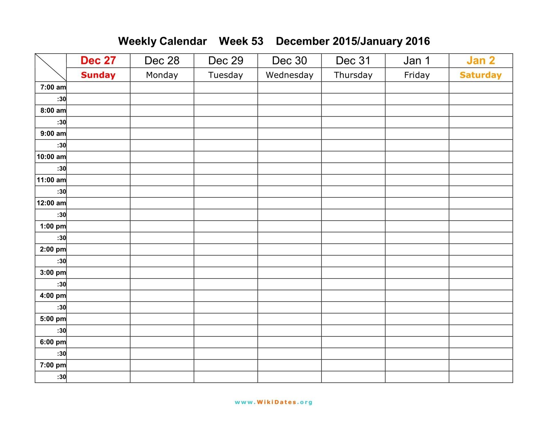 Daily Calendar Template 30 Minute Increments | Calendar