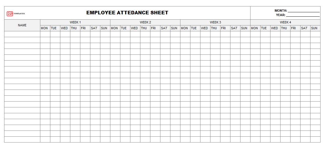 Daily Employee Attendance Sheet For Excel - Monthly Excel