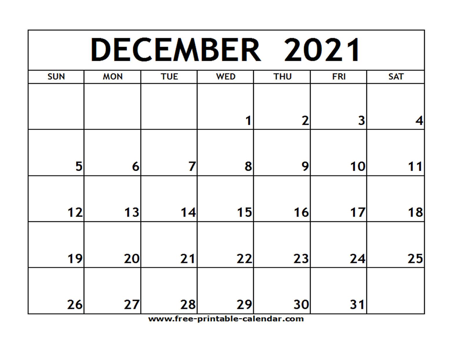 Dec 2021 Printable Calendar   Free Printable Calendar