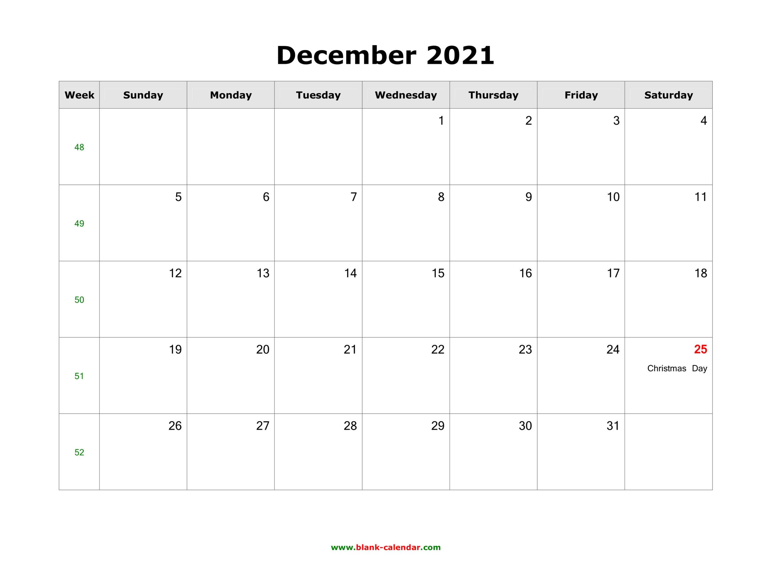 December 2021 Blank Calendar   Free Download Calendar Templates