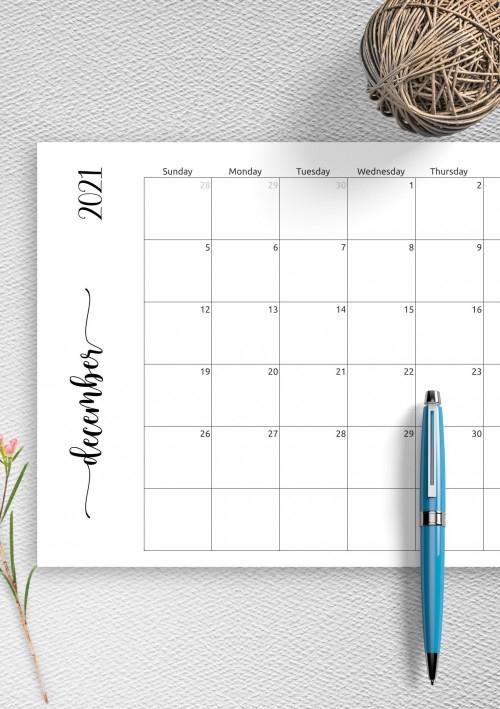 December 2021 Calendar - Download Printable Templates Pdf