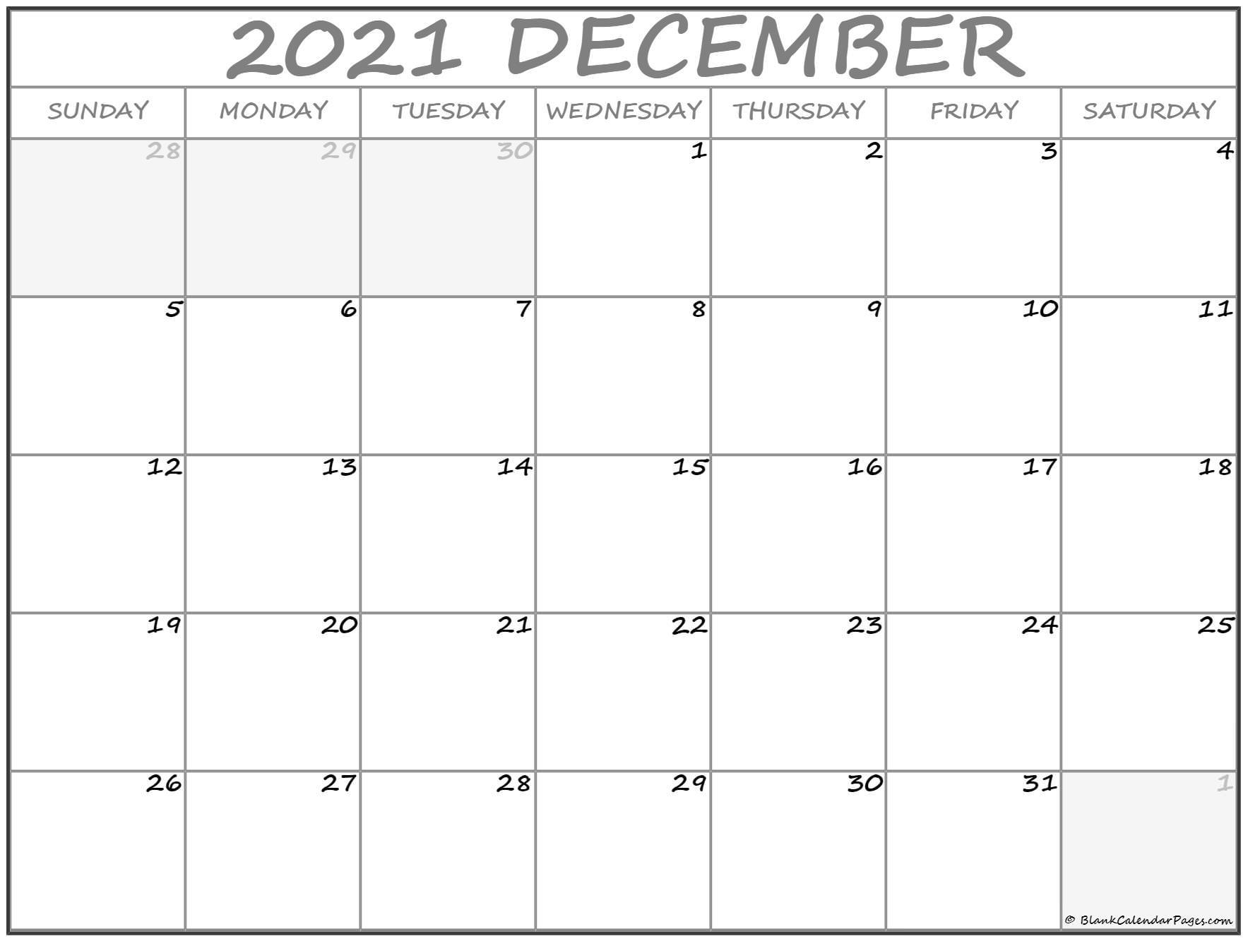 December 2021 Calendar | Free Printable Calendar Templates