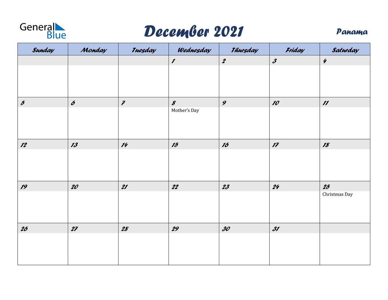 December 2021 Calendar - Panama