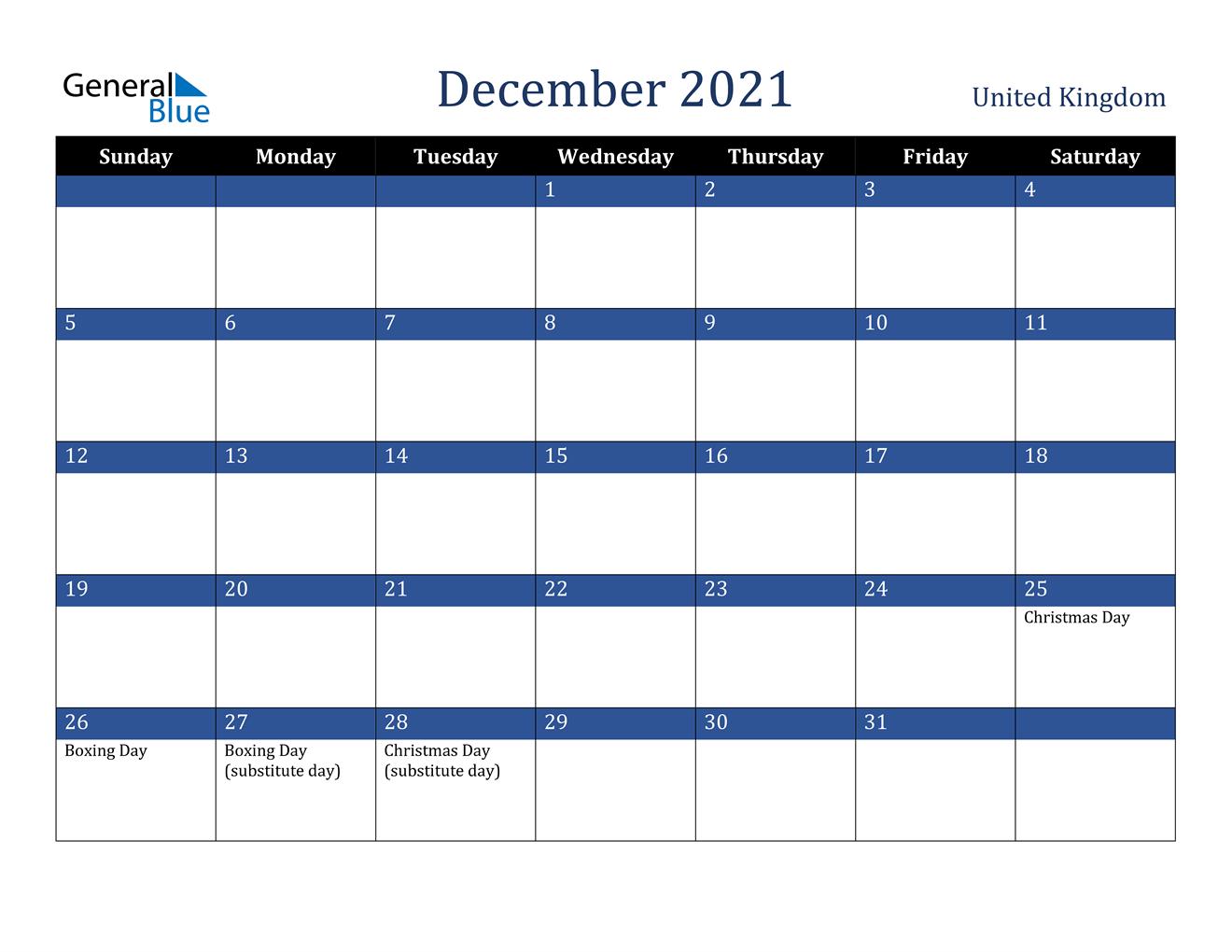 December 2021 Calendar - United Kingdom