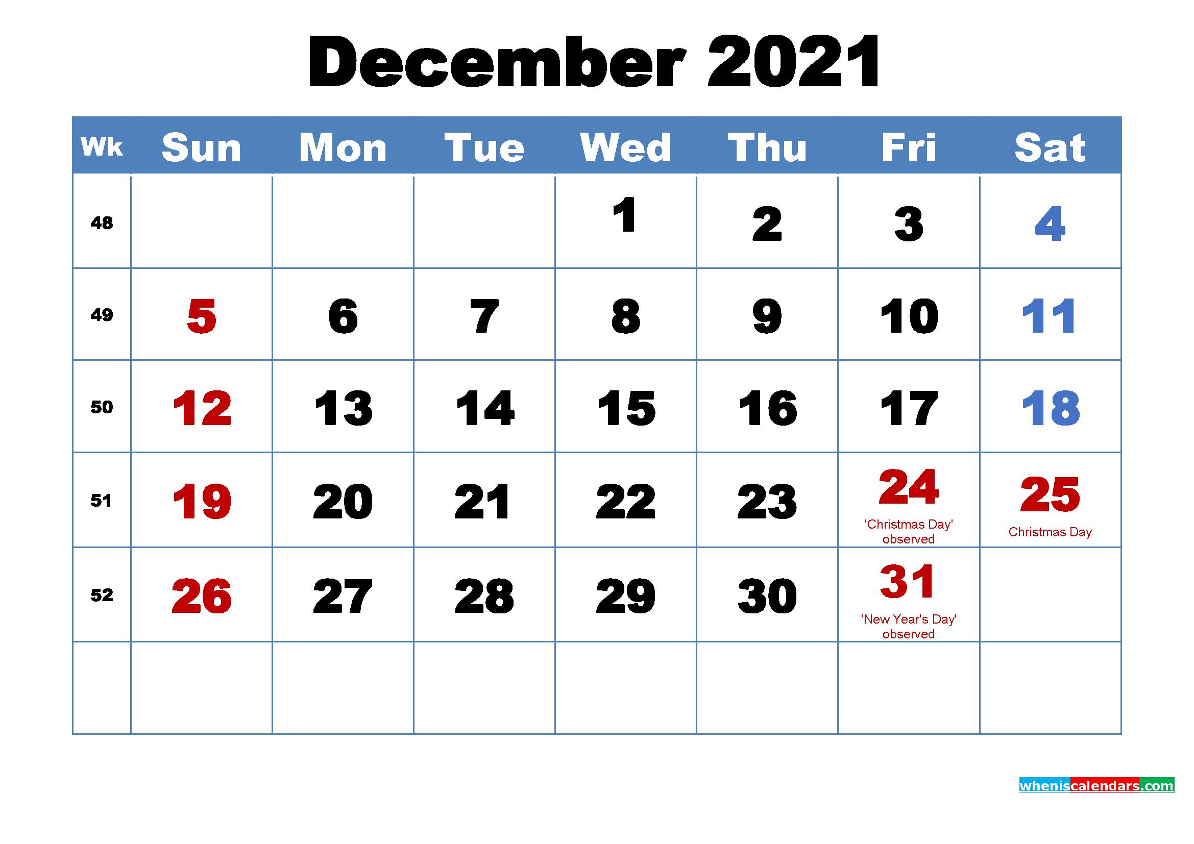 December 2021 Calendar Wallpaper Free Download