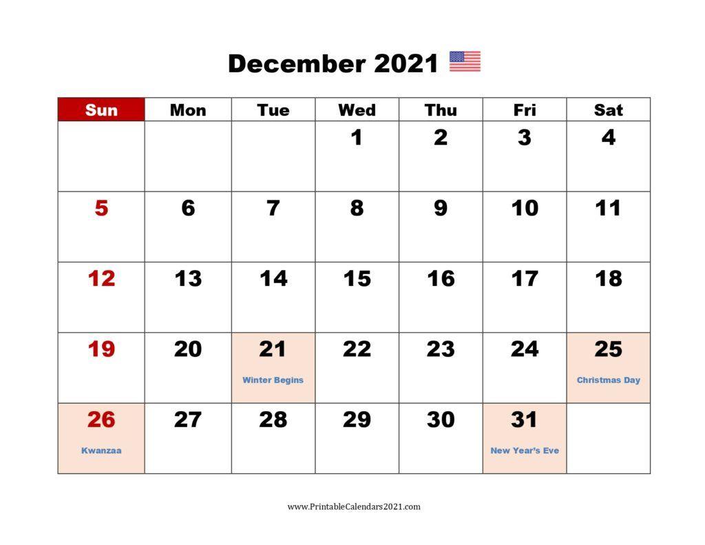 December 2021 Modern Typography Calendar   2021 Calendar