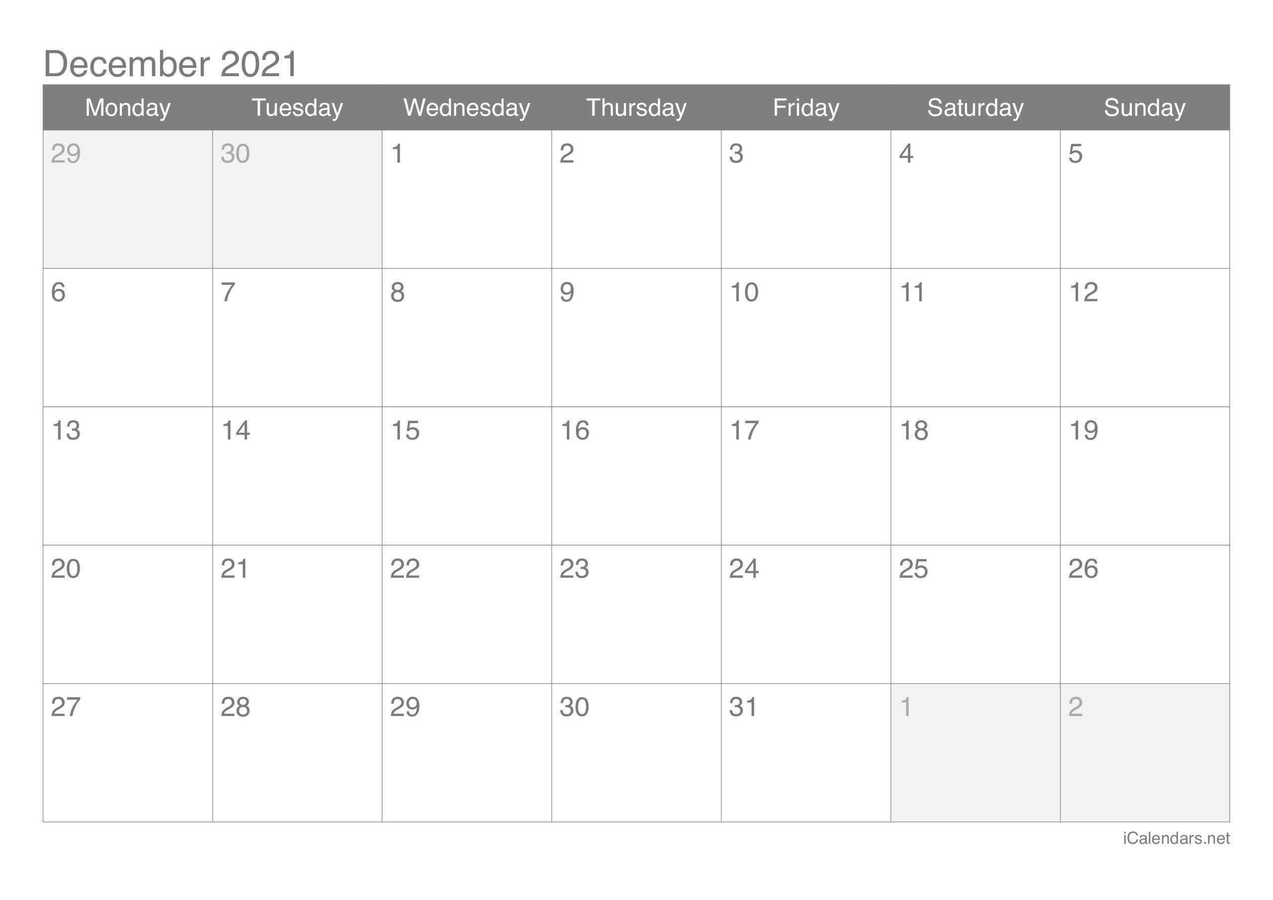 December 2021 Printable Calendar - Icalendars