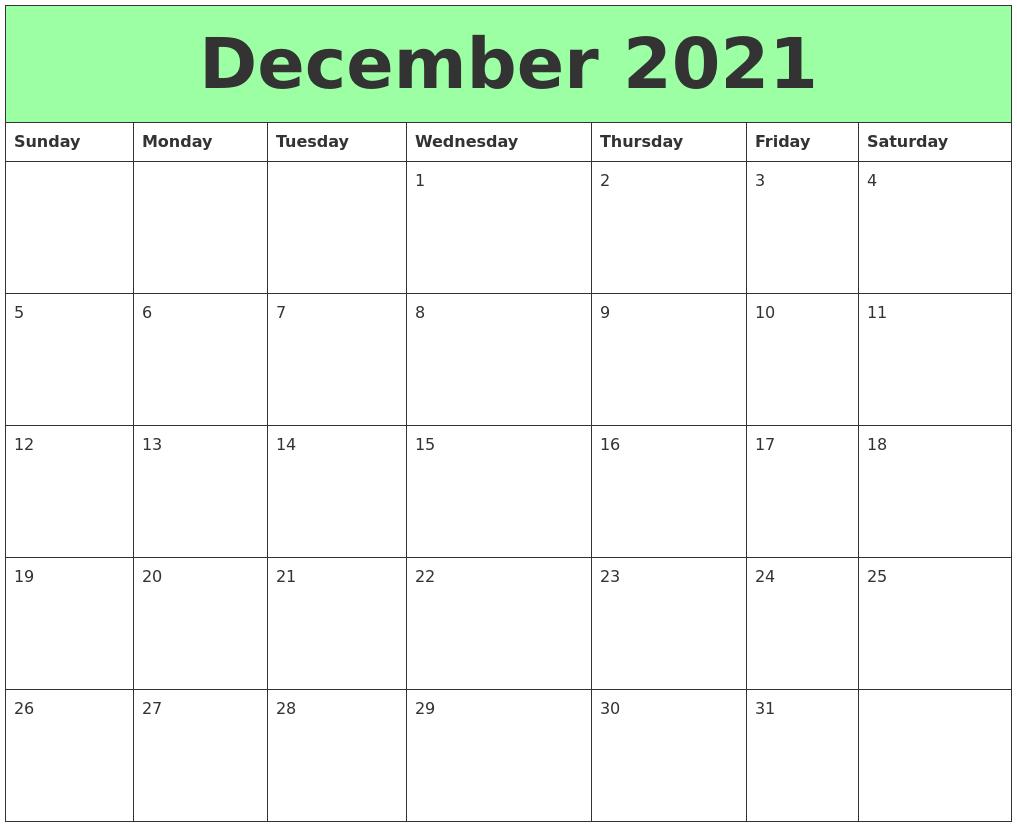 December 2021 Printable Calendars