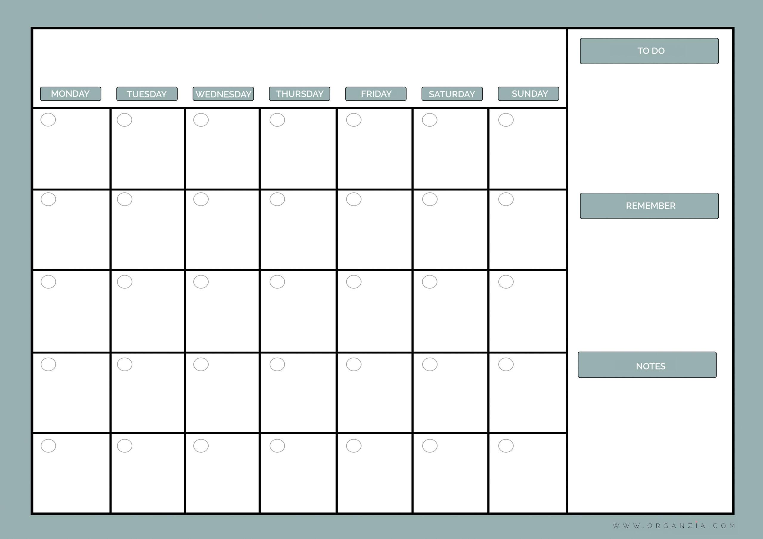 Diy Monthly Planner, Dry Erase Calendar + Free Printable