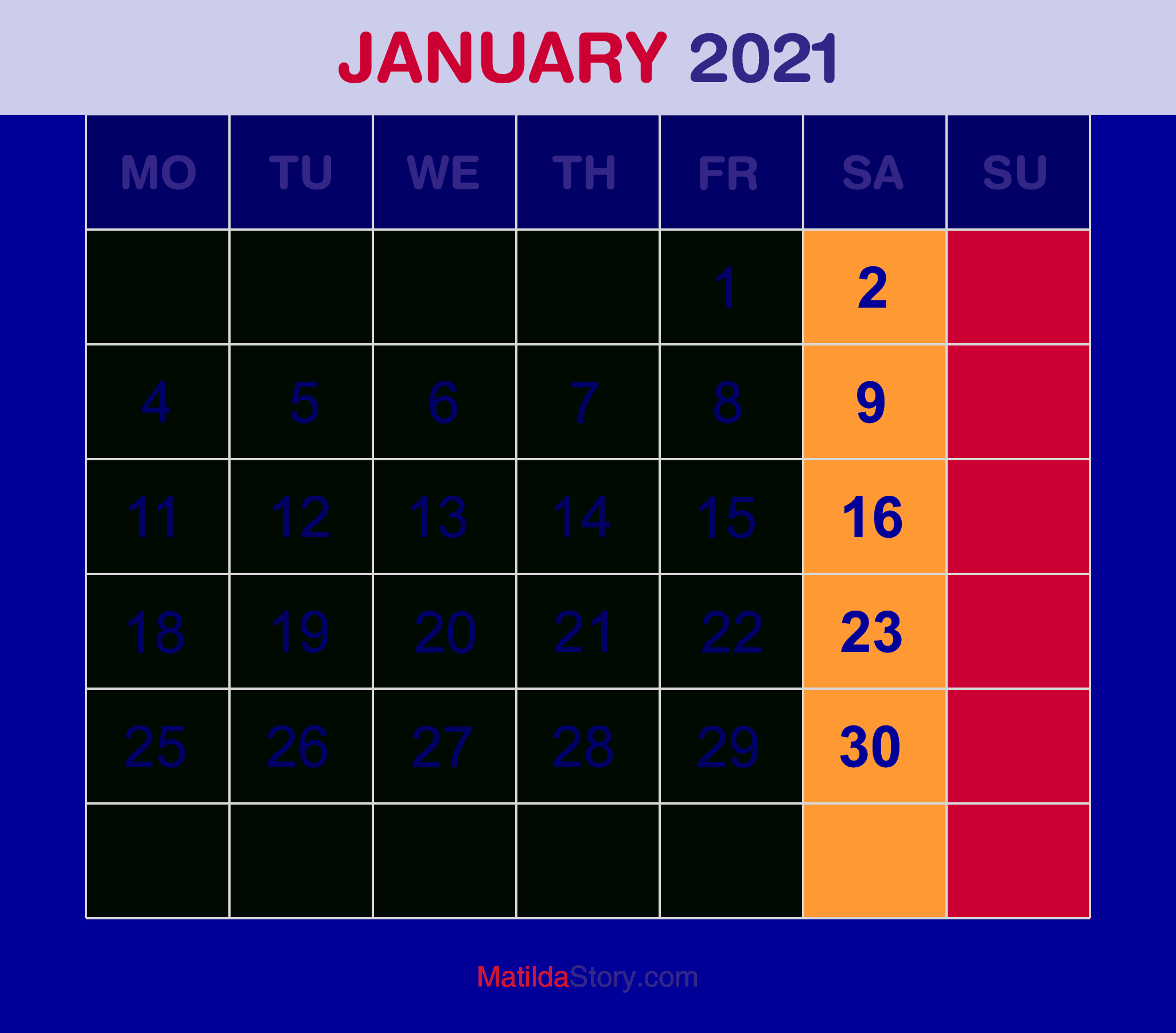 Download Calendar January 2021 : 65+ Printable Calendar