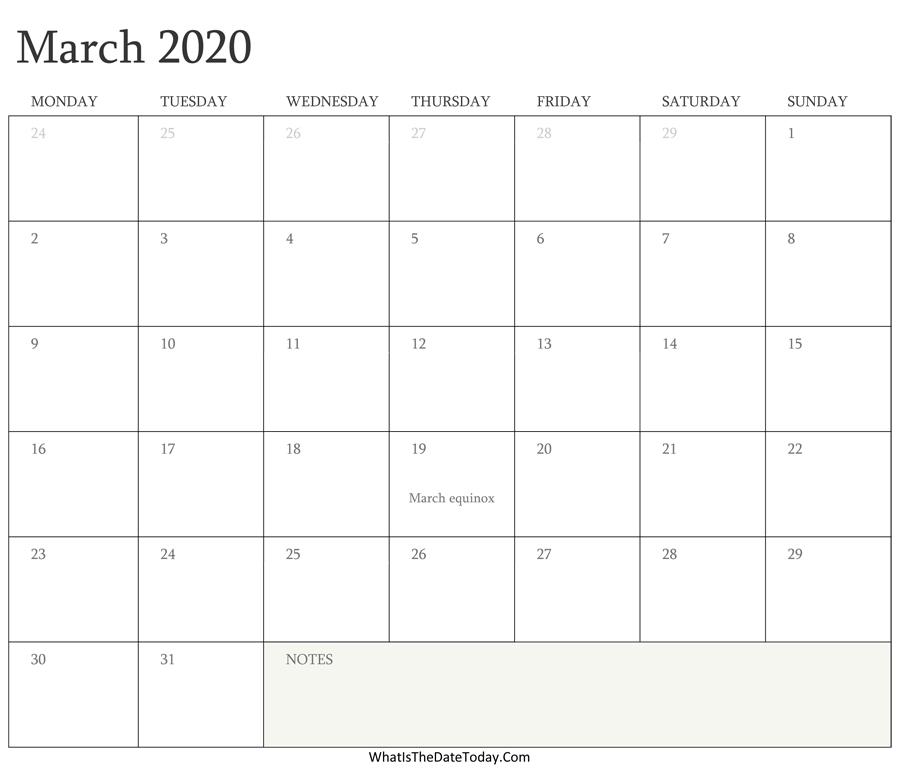 Editable Calendar March 2020 With Holidays