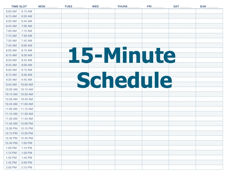 Excel 15 Minute Schedule Template - Printable Paper Template