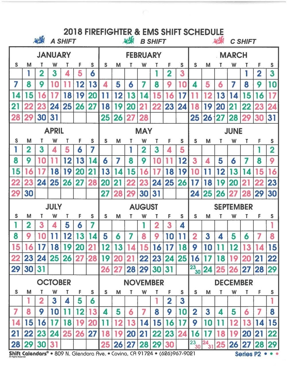 Fire Department Monthly Shift Calendar | Calendar Template