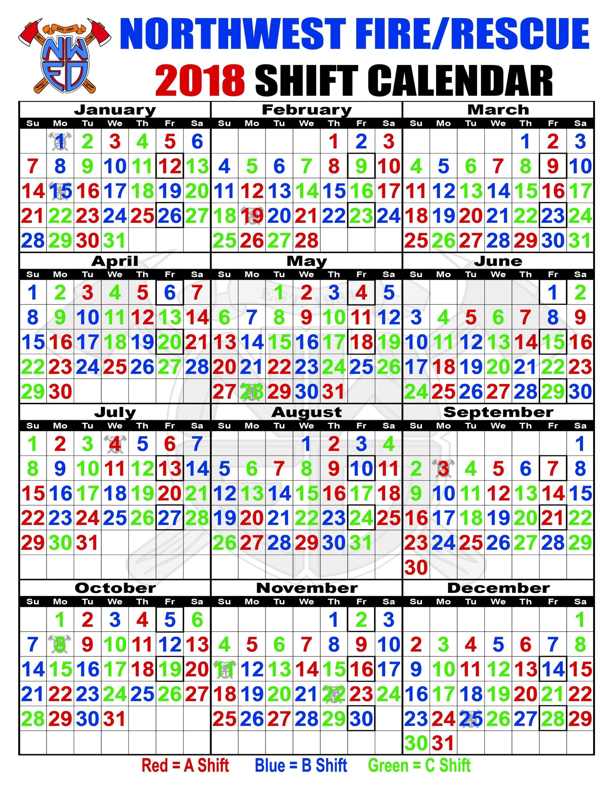 Firefighter Shift Calendar Template | Calendar Template