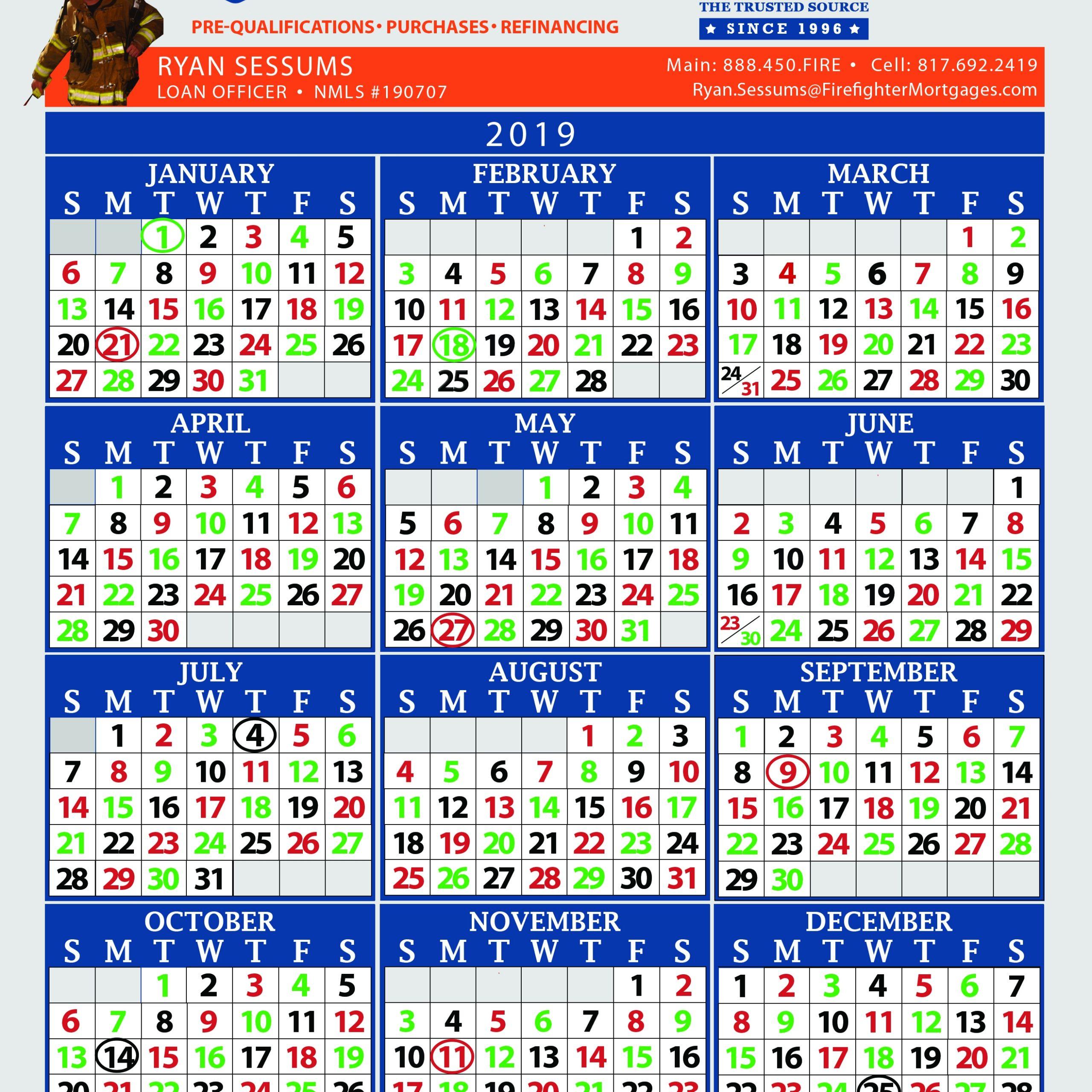 Firefighter Shift Calendars | Get Free Calendar