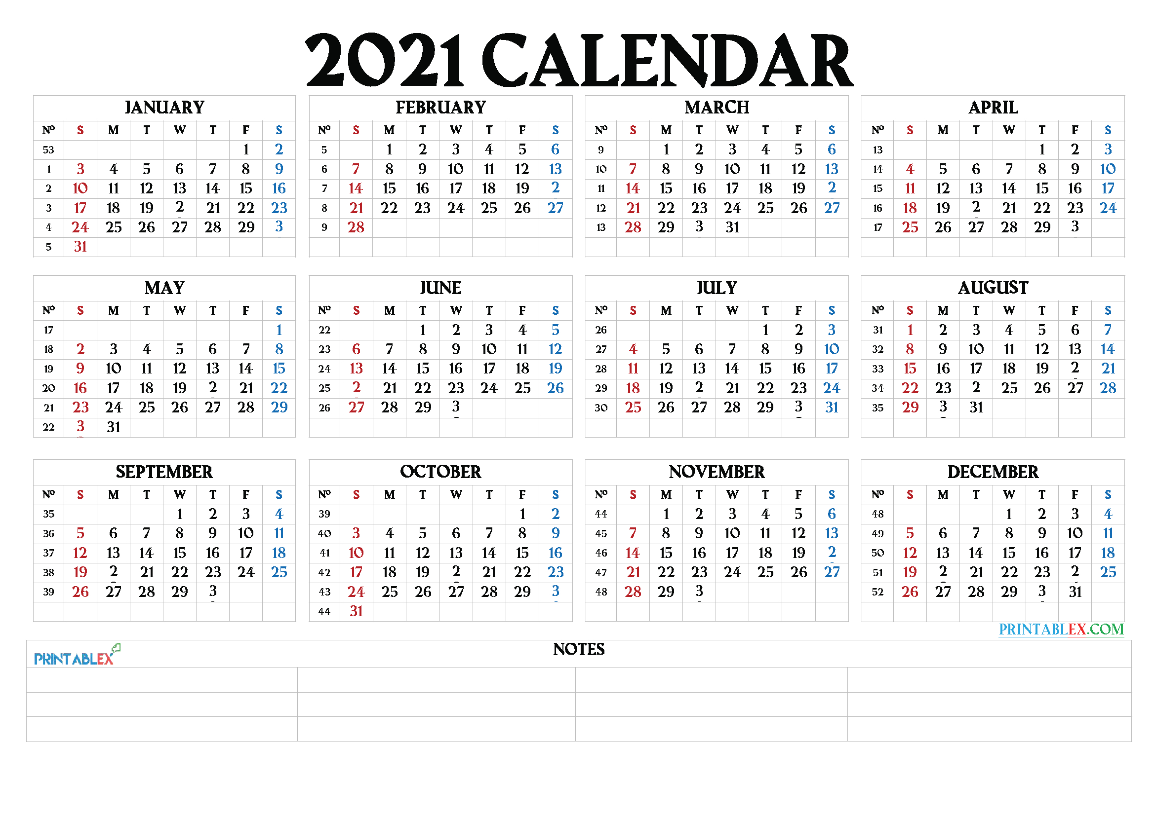 Free 2021 Yearly Calender Template - 2021 Printable Yearly
