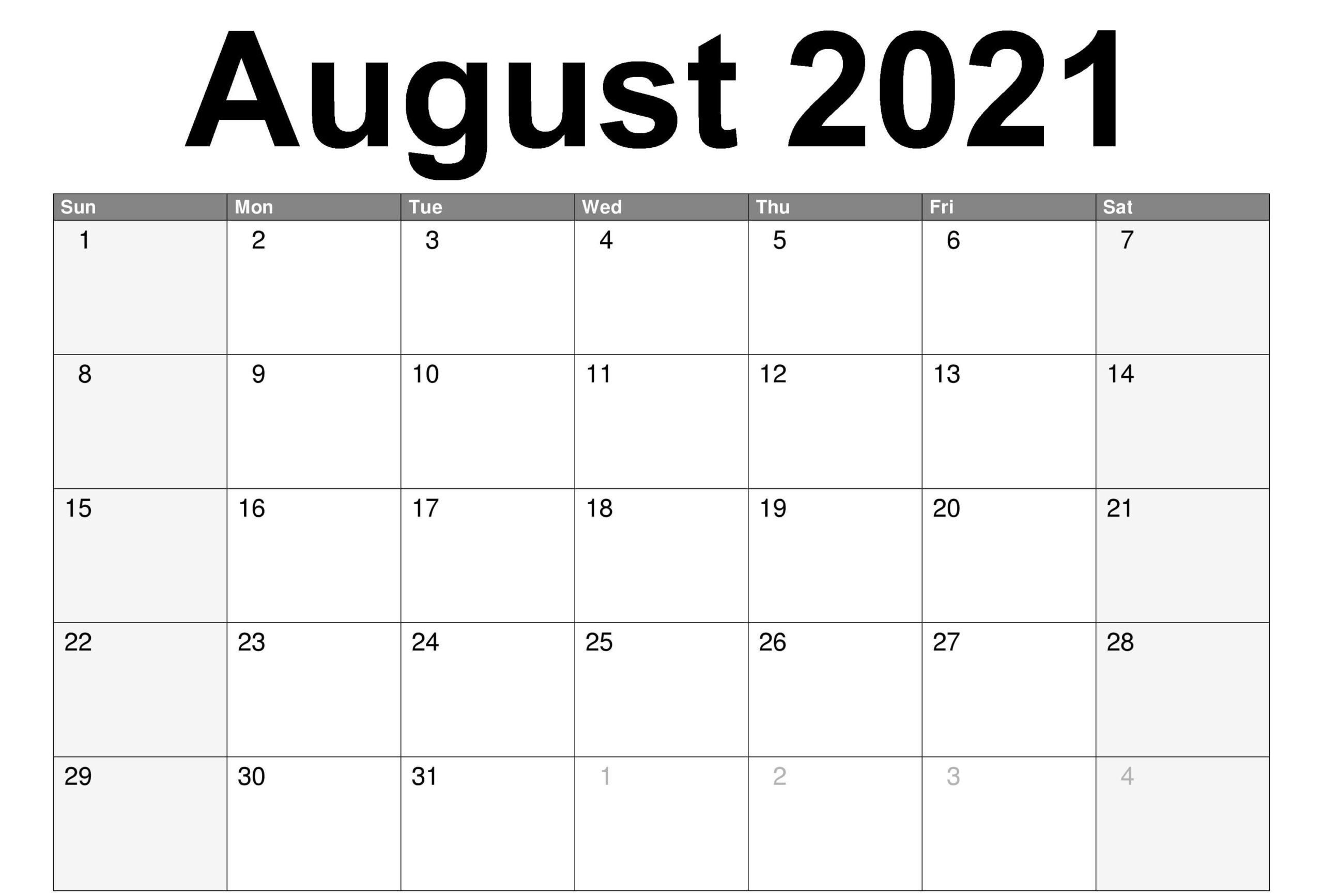 Free Blank Monthly 2021 Printable Calendar Template