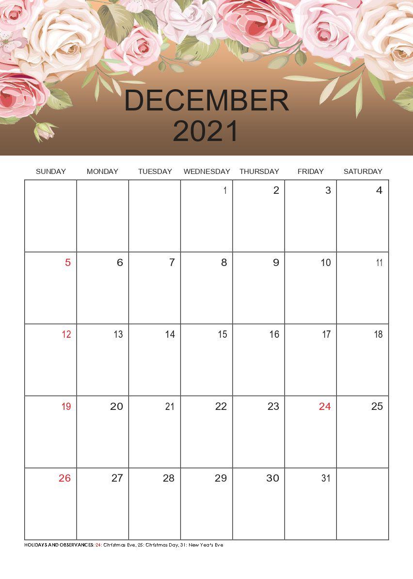 Free Download December 2021 Printable Calendar Templates Pdf