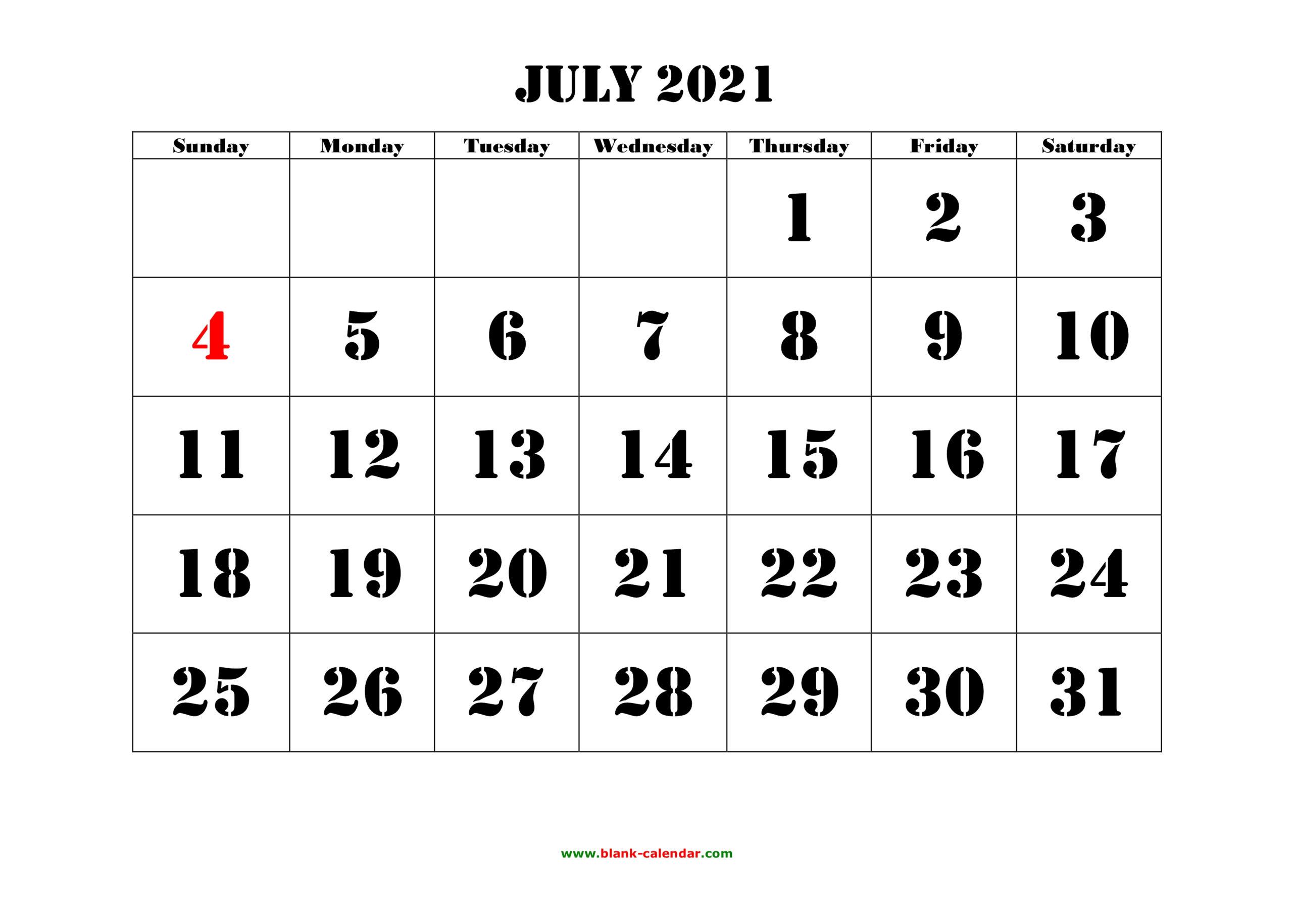 Free Download Printable July 2021 Calendar, Large Font Design , Holidays On Red