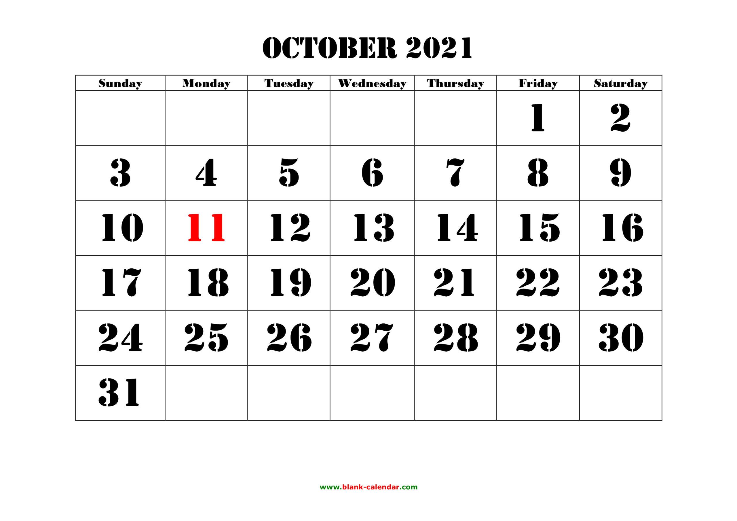 Free Download Printable October 2021 Calendar, Large Font Design , Holidays On Red