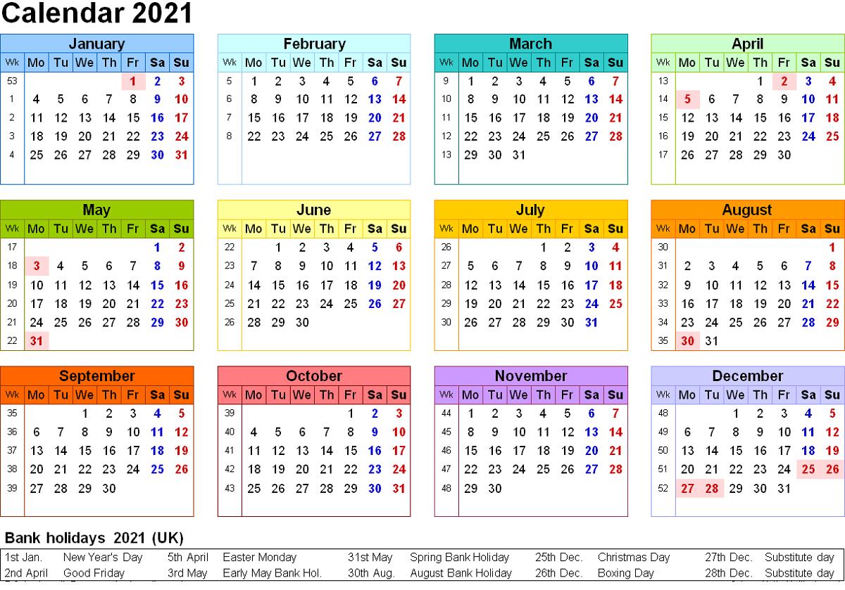 Free Editable Weekly 2021 Calendar - 2019 - 2021 Editable