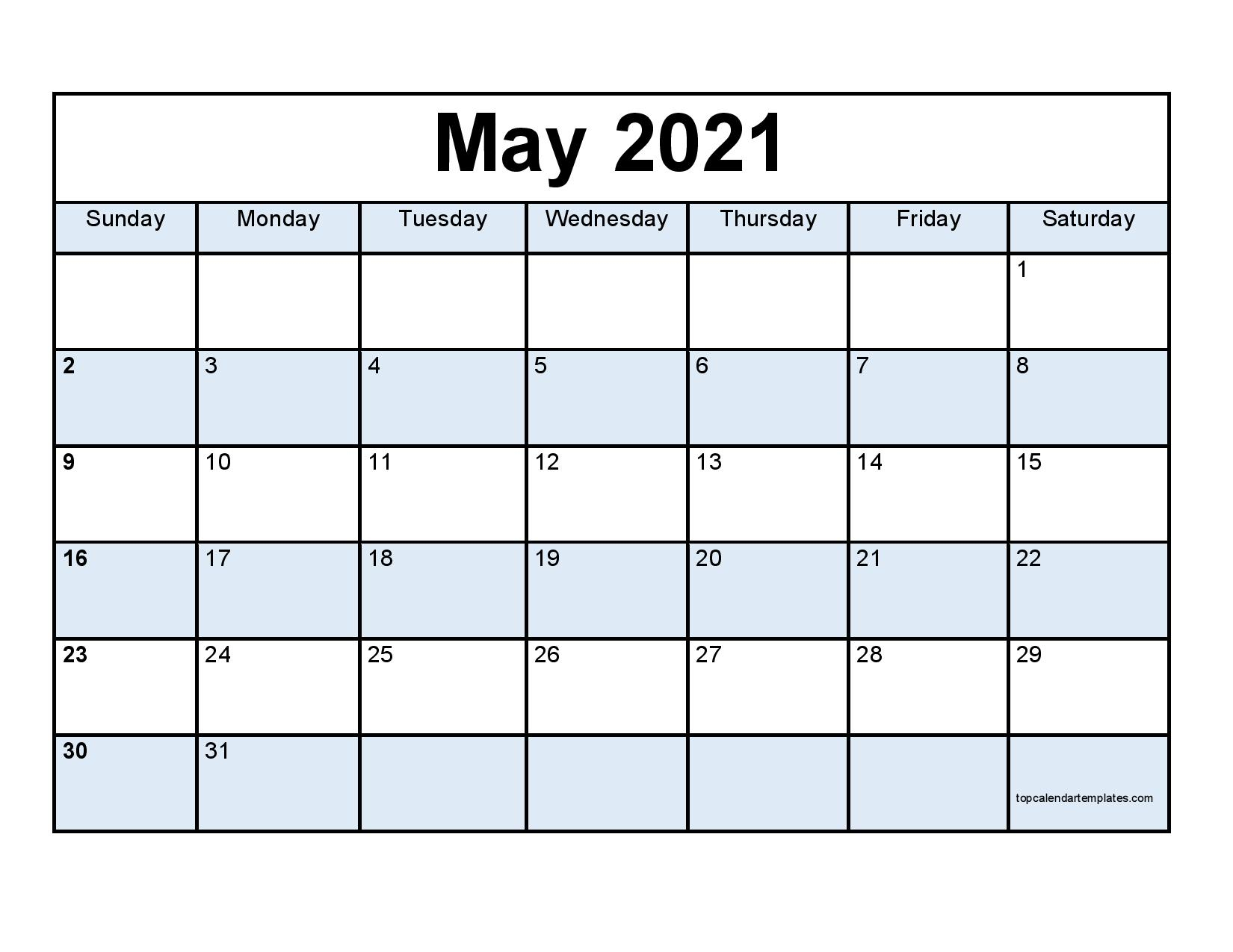 Free May 2021 Calendar Printable - Blank Templates