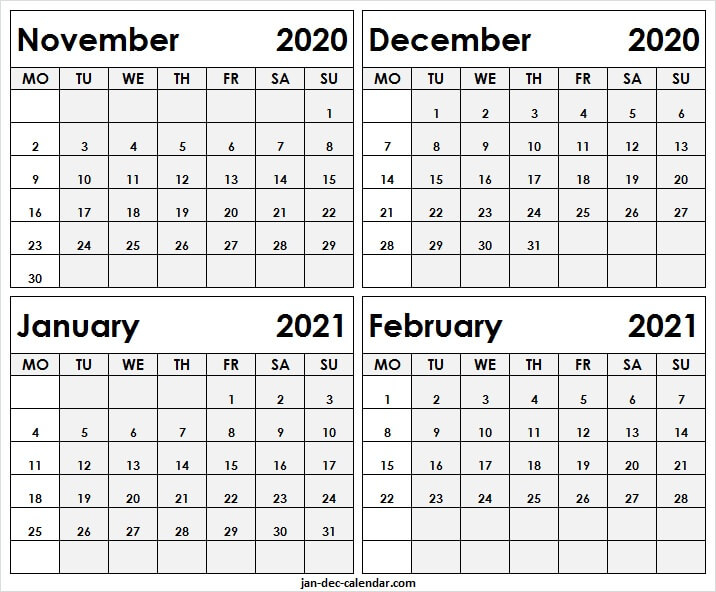 Free November 2020 To February 2021 Calendar - Printable