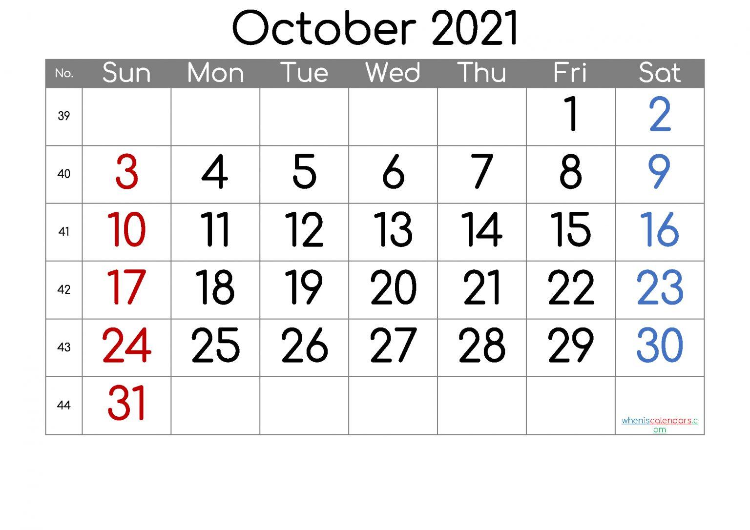 Free October 2021 Calendar 6 Templates Free Printable