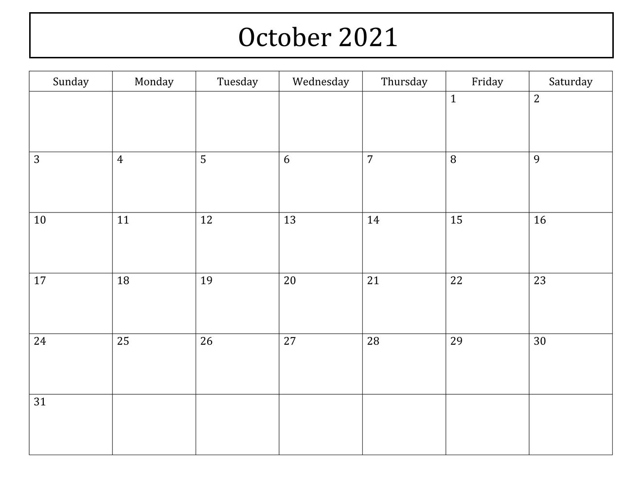 Free October 2021 Calendar Printable - Blank Templates