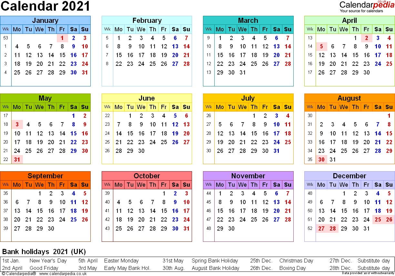 Free Pdf Calendar 2021 Uk For Visitors | Free Printable