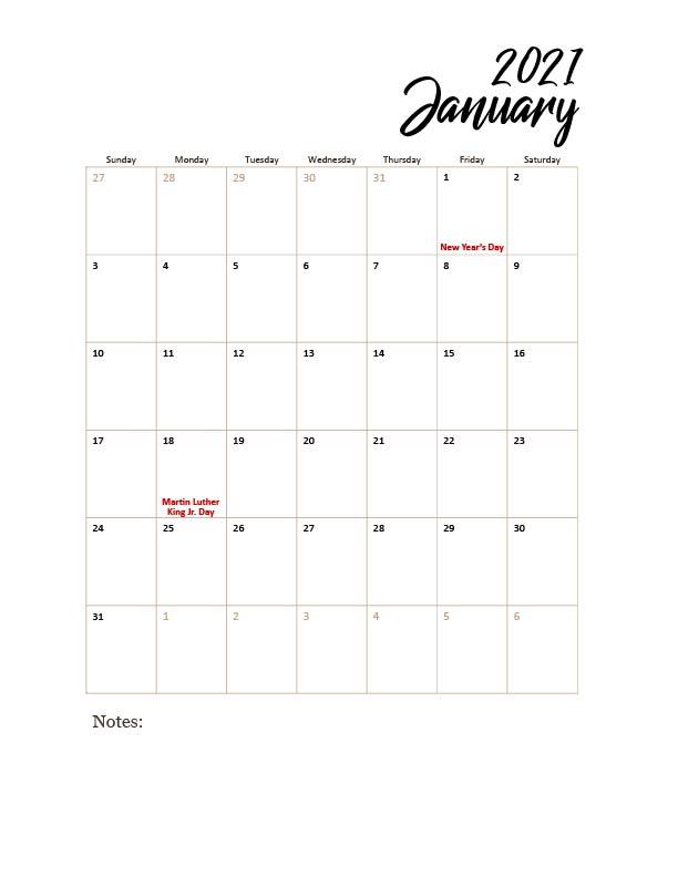 Free Printable 2021 Calendar With Holidays Pdf - Strength