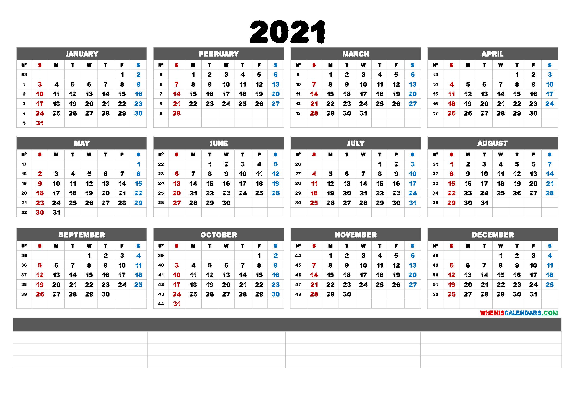Free Printable 2021 Calendarmonth (6 Templates)