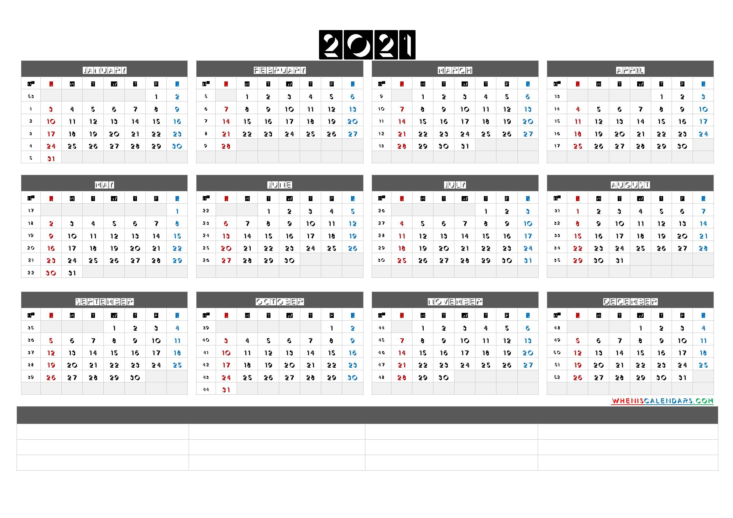Free Printable 2021 Yearly Calendar With Week Numbers (6