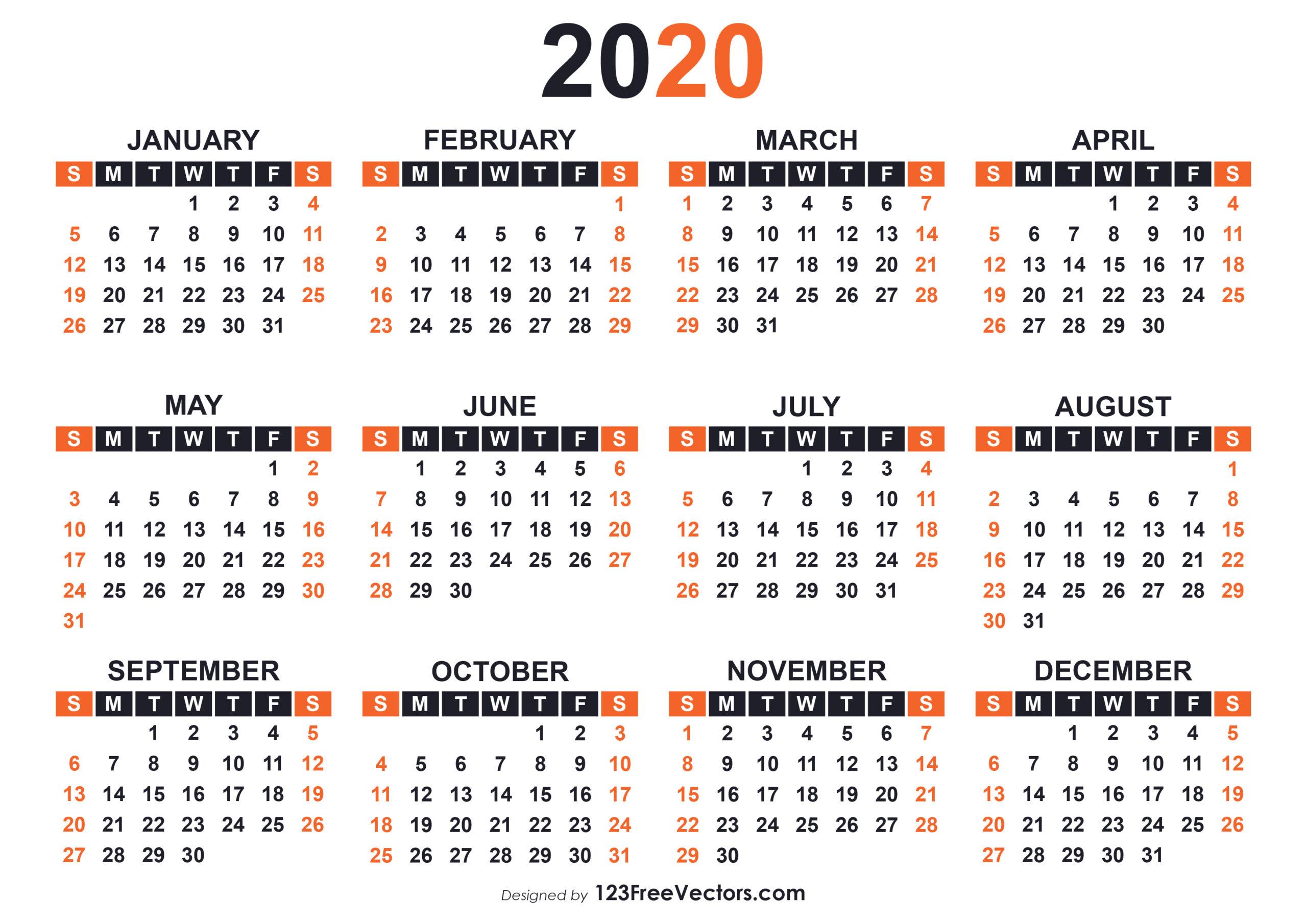 Free Printable Calendar For 2020 | Calendar Printables