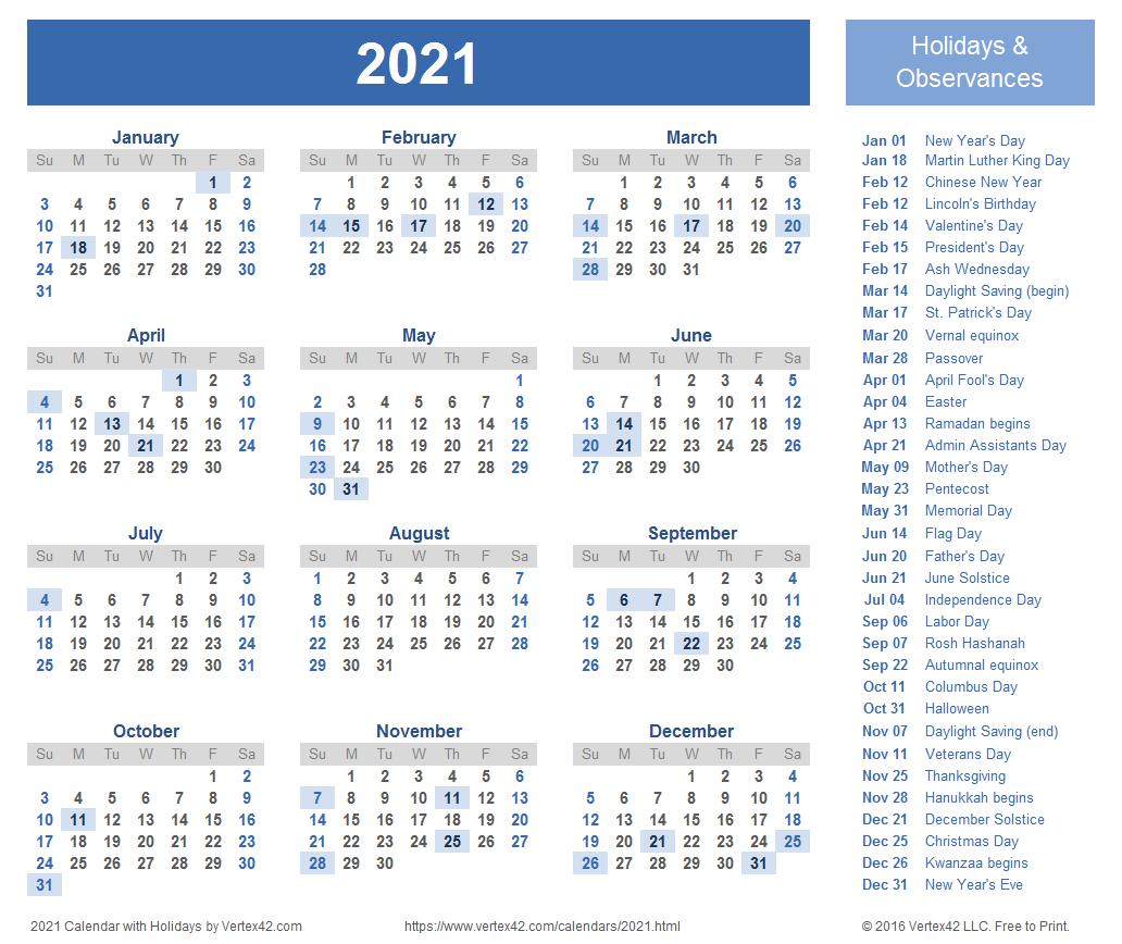 Free Printable Calendar Year 2021   Calendar Printables
