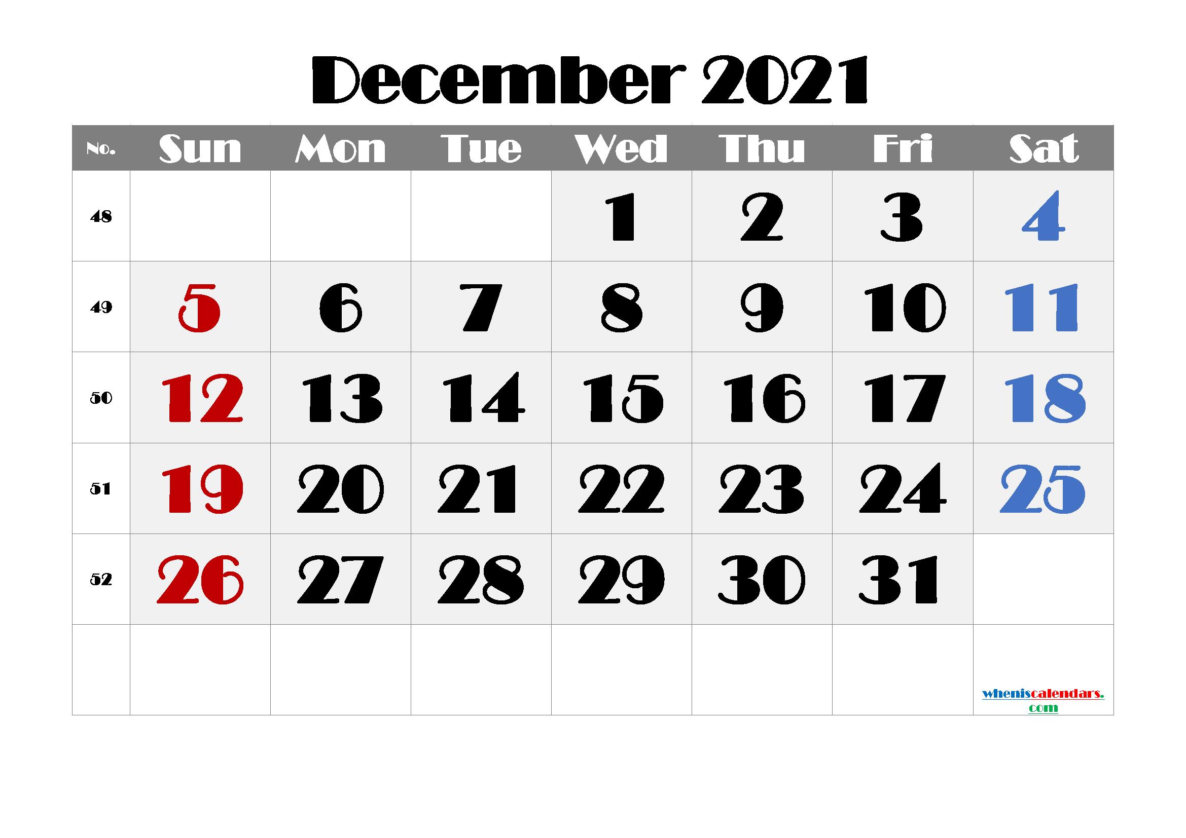 Free Printable December 2021 Calendar