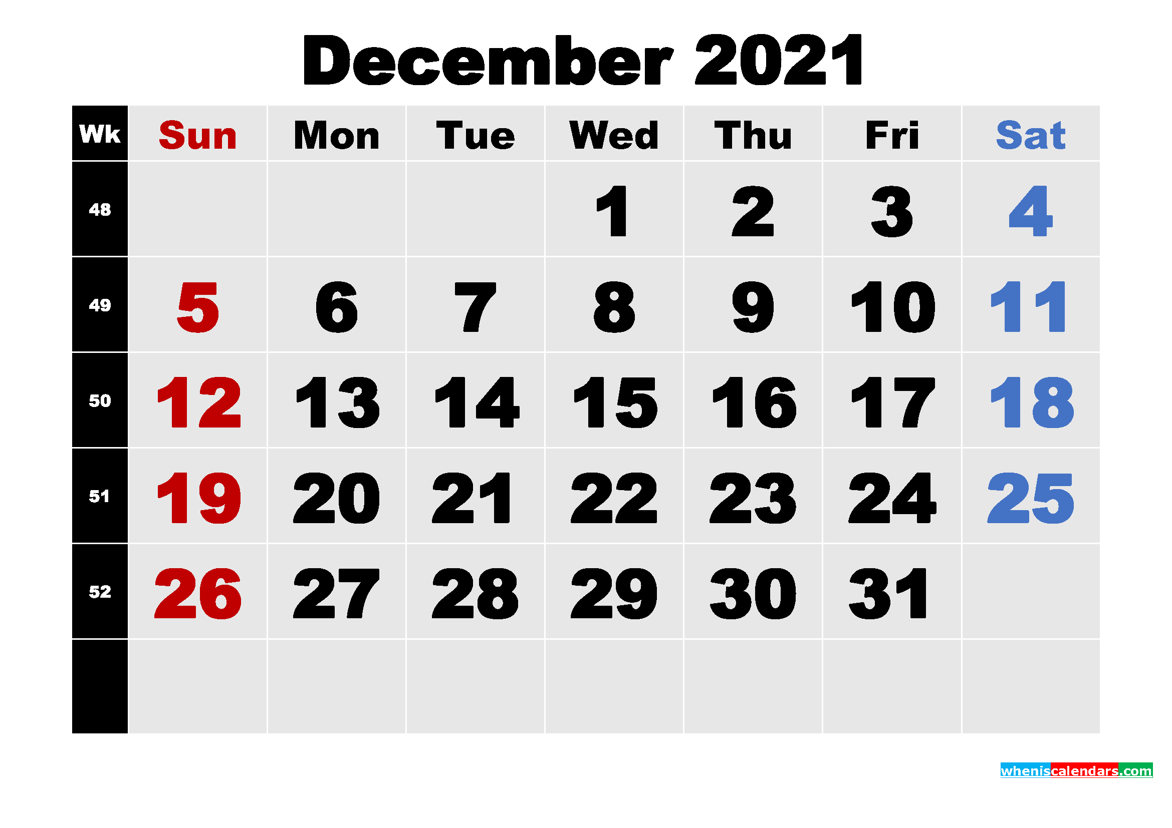 Free Printable December 2021 Calendar Template Word, Pdf