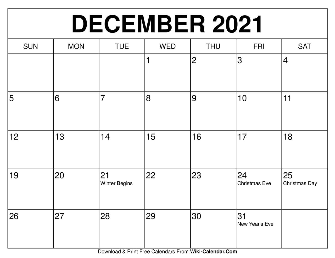 Free Printable December 2021 Calendars