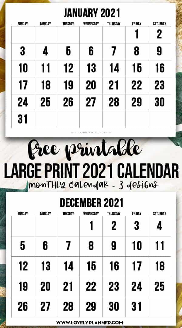 Free Printable Large Print 2021 Calendar - 12 Month Calendar - Lovely Planner
