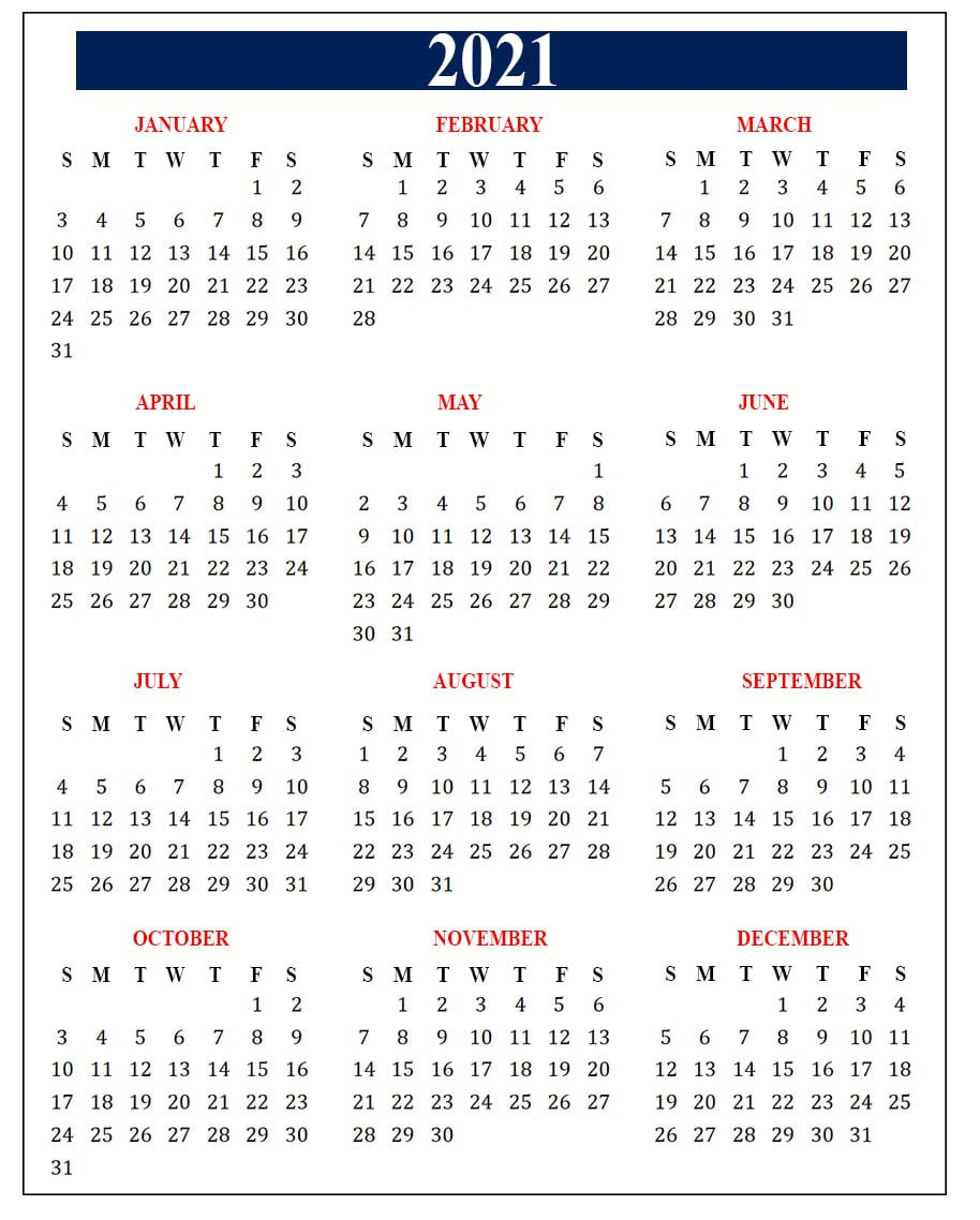 Free Yearly 2021 Calendar Template