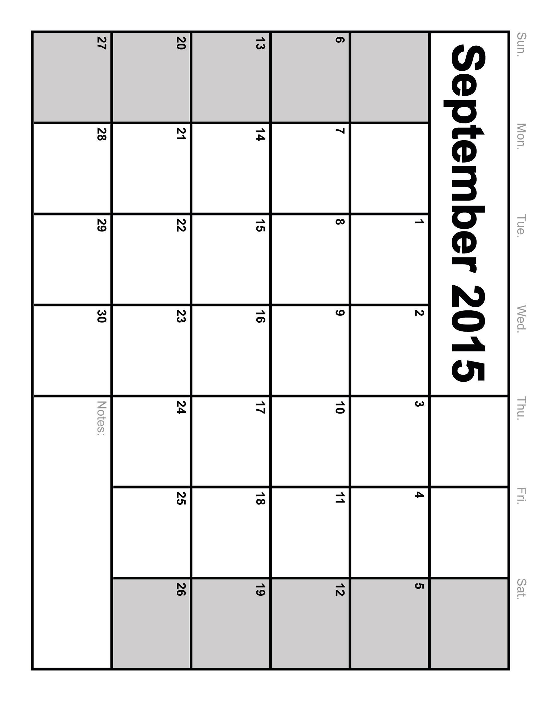 Full Size Printable Blank Calendar - Template Calendar Design