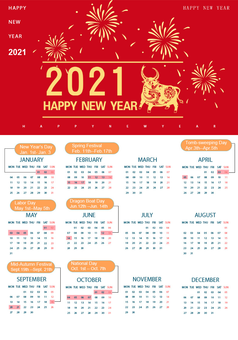 Here Comes The Calendar 2021-National Holidays Of China